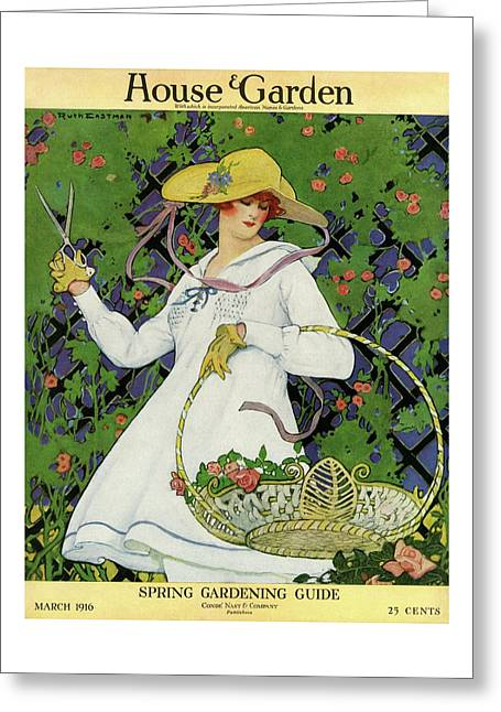 A House And Garden Cover Of A Woman Gardening Greeting Card