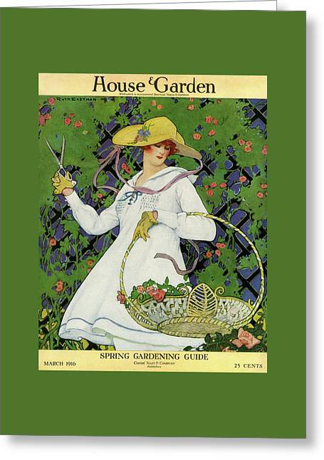 A House And Garden Cover Of A Woman Gardening Greeting Card by Ruth Easton
