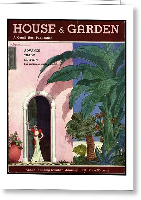 A House And Garden Cover Of A Woman In A Doorway Greeting Card