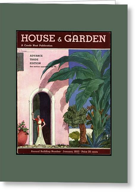A House And Garden Cover Of A Woman In A Doorway Greeting Card by Georges Lepape