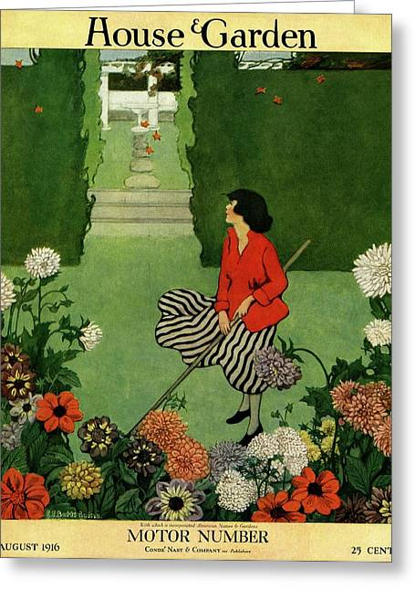 A House And Garden Cover Of A Woman Raking Leaves Greeting Card