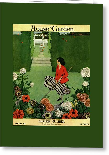 A House And Garden Cover Of A Woman Raking Leaves Greeting Card by Ethel Franklin Betts Baines