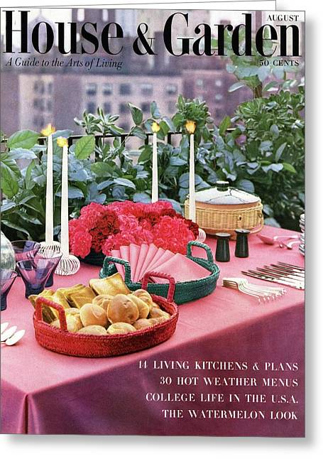A House And Garden Cover Of Al Fresco Dining Greeting Card