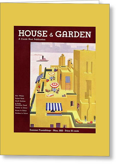A House And Garden Cover Of An Apartment Building Greeting Card by Gilbert Bates