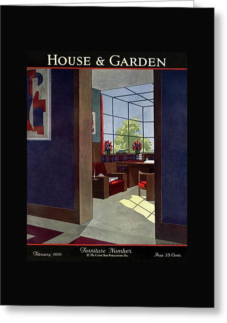 A House And Garden Cover Of An Interior Greeting Card by Jean Pages