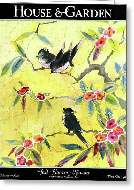 A House And Garden Cover Of Chickadees Greeting Card