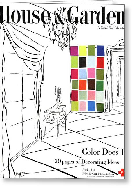 A House And Garden Cover Of Color Swatches Greeting Card