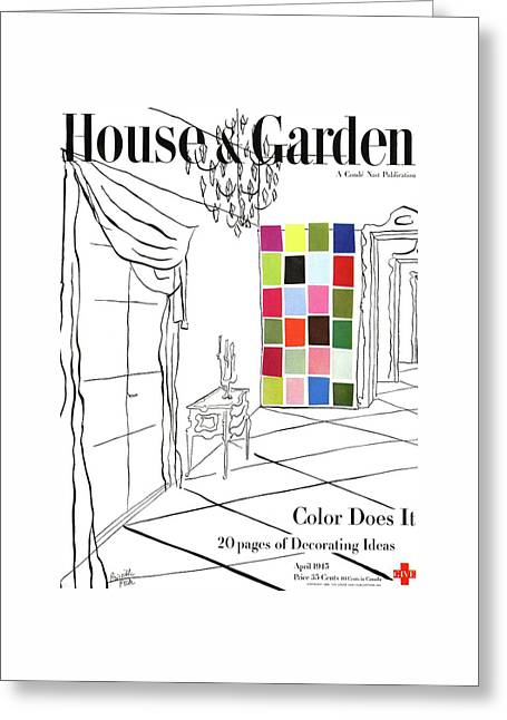 A House And Garden Cover Of Color Swatches Greeting Card by Priscilla Peck