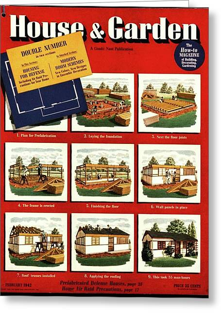 A House And Garden Cover Of Construction Stages Greeting Card