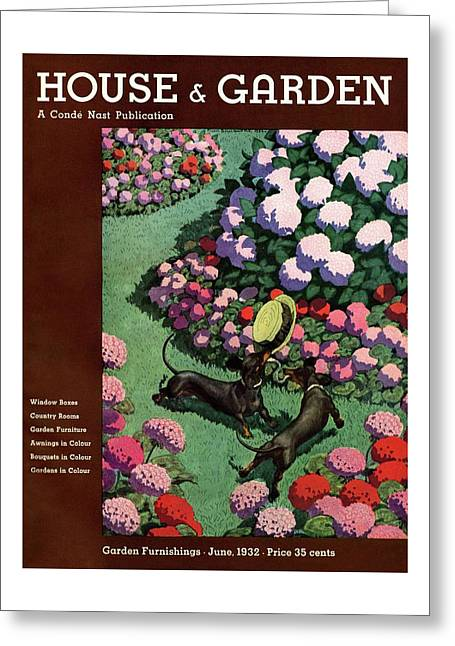 A House And Garden Cover Of Dachshunds With A Hat Greeting Card