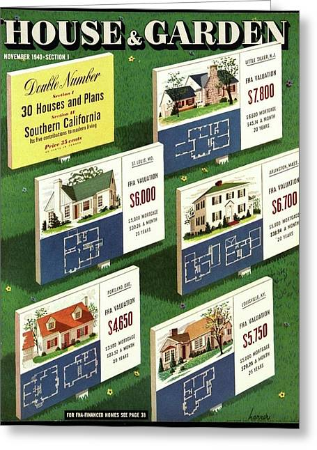 A House And Garden Cover Of Floorplans Greeting Card