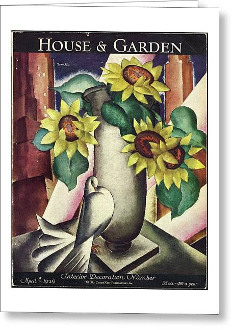 A House And Garden Cover Of Flowers And A Dove Greeting Card
