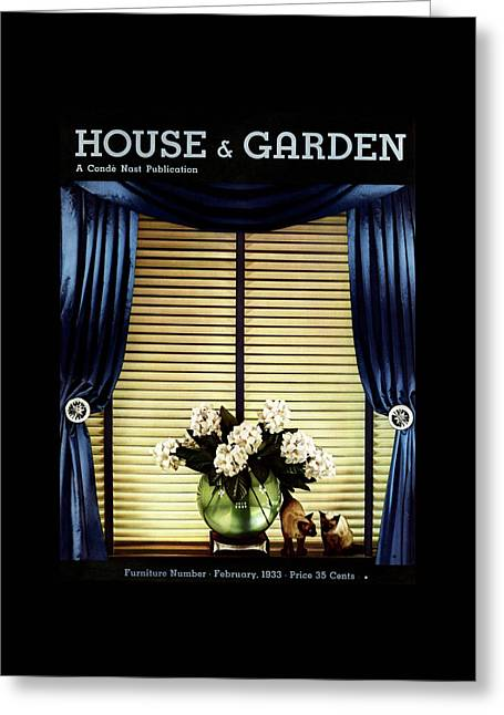 A House And Garden Cover Of Flowers By A Window Greeting Card by Anton Bruehl