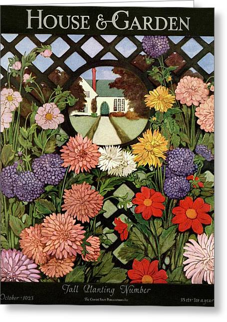 A House And Garden Cover Of Flowers Greeting Card
