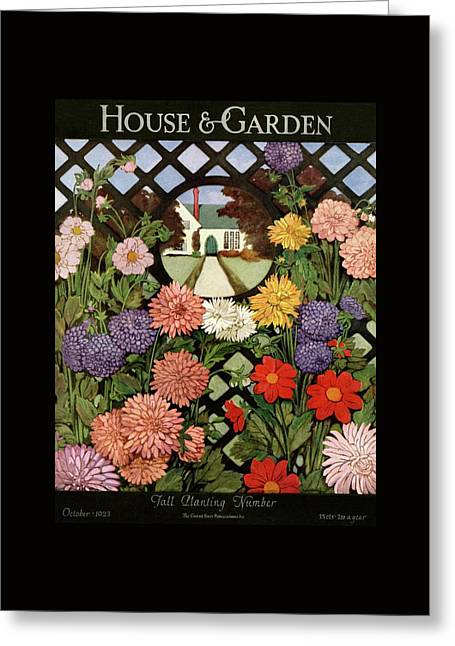 A House And Garden Cover Of Flowers Greeting Card by Ethel Franklin Betts Baines