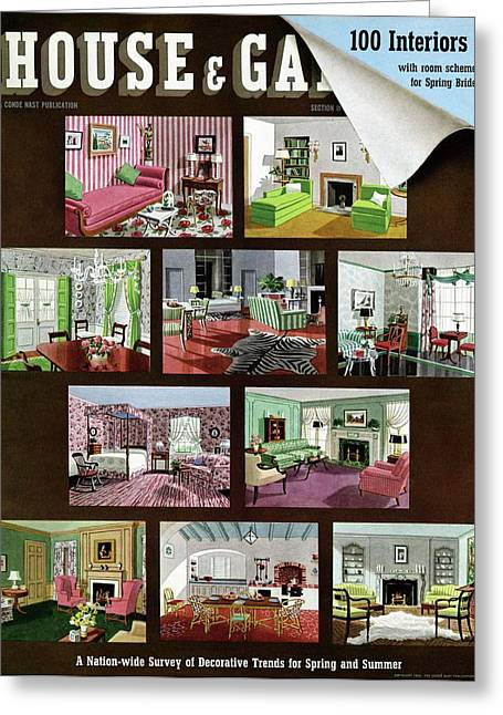A House And Garden Cover Of Interior Design Greeting Card