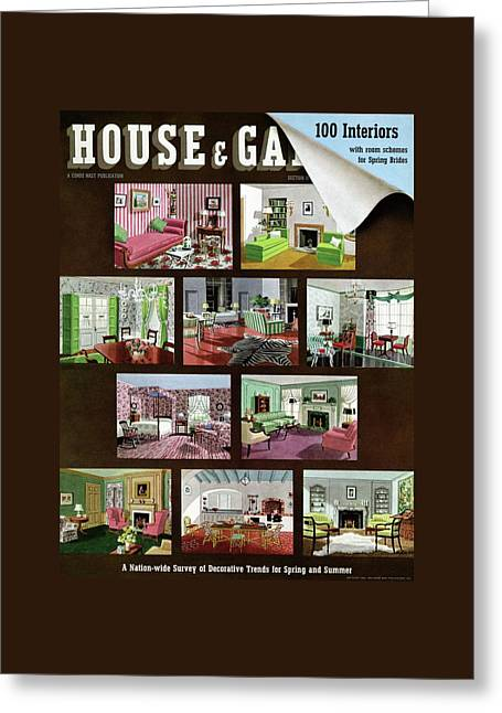 A House And Garden Cover Of Interior Design Greeting Card by Urban Weis