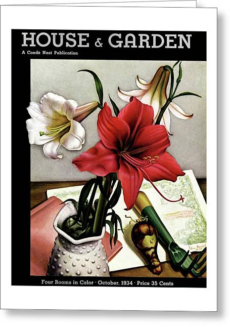 A House And Garden Cover Of Lilies Greeting Card