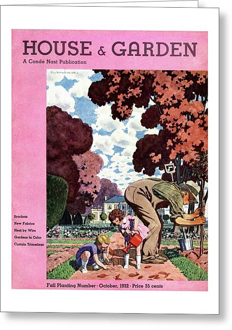 A House And Garden Cover Of People Gardening Greeting Card