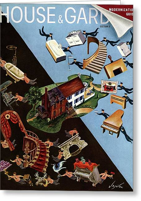 A House And Garden Cover Of People Moving House Greeting Card