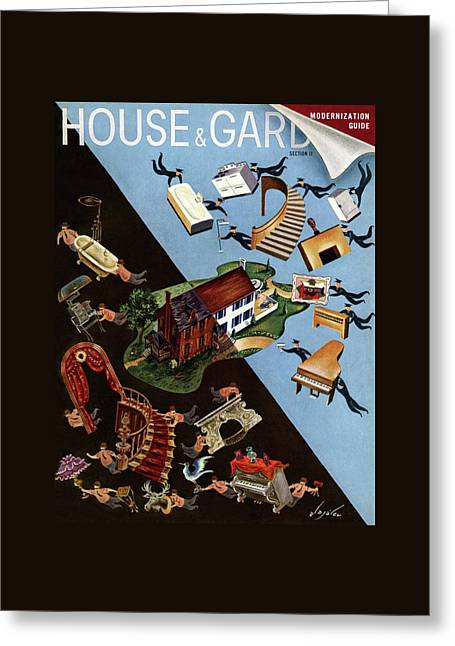 A House And Garden Cover Of People Moving House Greeting Card by Constantin Alajalov
