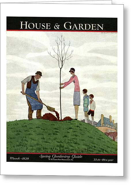 A House And Garden Cover Of People Planting Greeting Card
