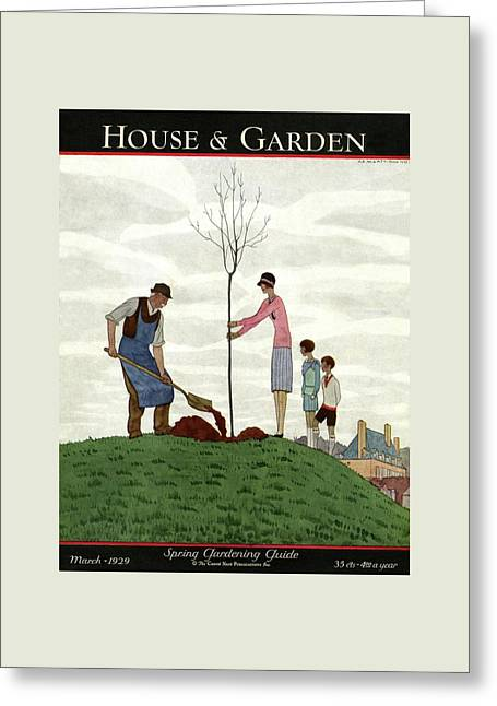 A House And Garden Cover Of People Planting Greeting Card by Andre E.  Marty