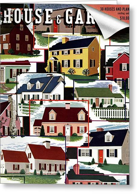 A House And Garden Cover Of Suburban Houses Greeting Card