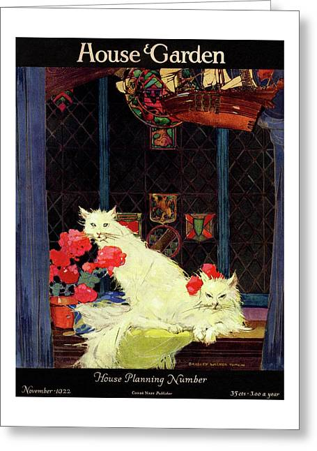 A House And Garden Cover Of White Cats Greeting Card