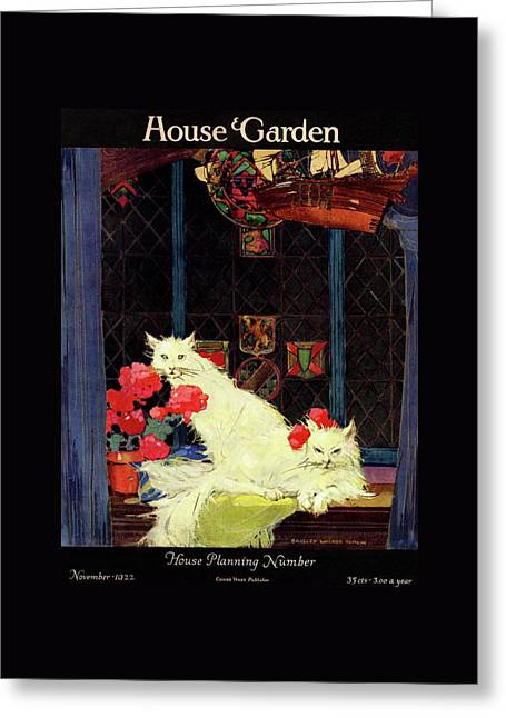 A House And Garden Cover Of White Cats Greeting Card by Bradley Walker Tomlin