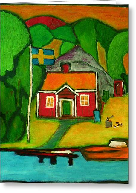 Greeting Card featuring the painting A House In Sweden by Zeke Nord
