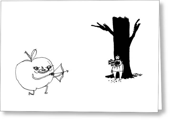 A Huge Apple Creature With A Bow And Arrow Shoots Greeting Card