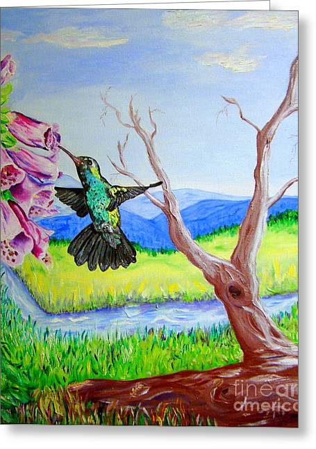 A Hummingbirds Day Greeting Card
