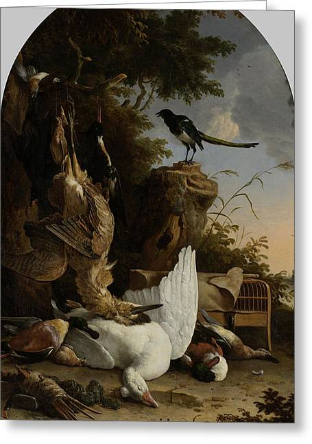 A Hunter's Bag Near A Tree Stump With A Magpie Greeting Card by Litz Collection