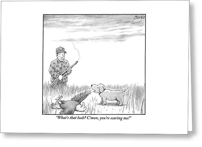 A Hunting Dog Addresses His Master Who Looks Greeting Card