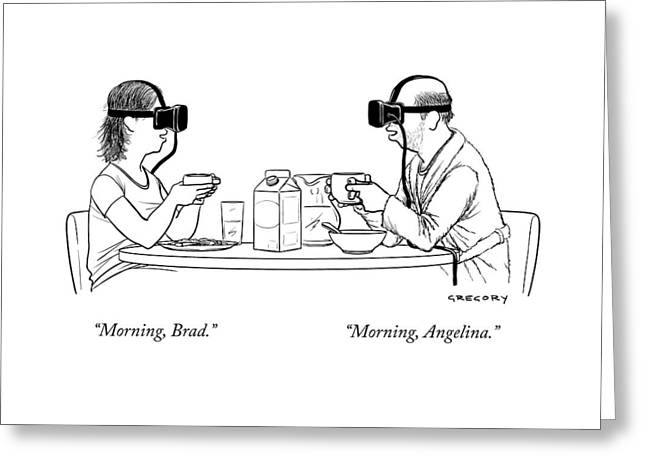 A Husband And Wife At The Breakfast Table Both Greeting Card