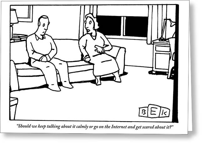 A Husband And Wife Sit On The Sofa Greeting Card