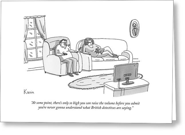 A Husband And Wife Watch Television Greeting Card