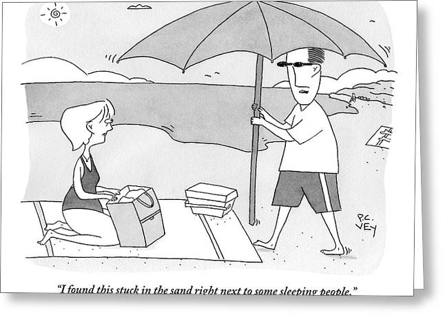 A Husband Returns To His Wife At The Beach Having Greeting Card