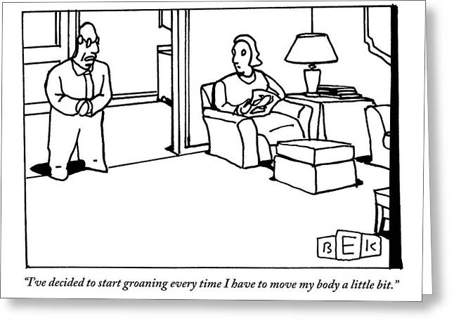 A Husband Says To His Wife In Their Livingroom Greeting Card