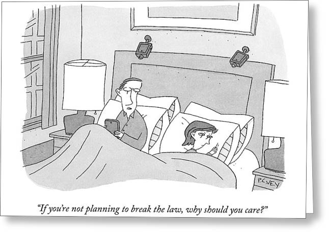 A Husband Speaks To His Wife In Their Bed Greeting Card