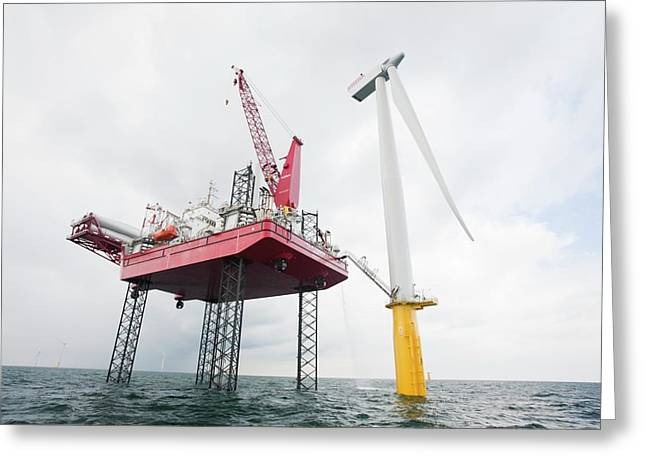 A Jack Up Barge Fitting Wind Turbines Greeting Card by Ashley Cooper