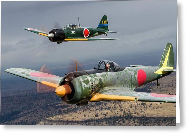 A Japanese A6m Zero And A Ki-43 Oscar Greeting Card by Rob Edgcumbe