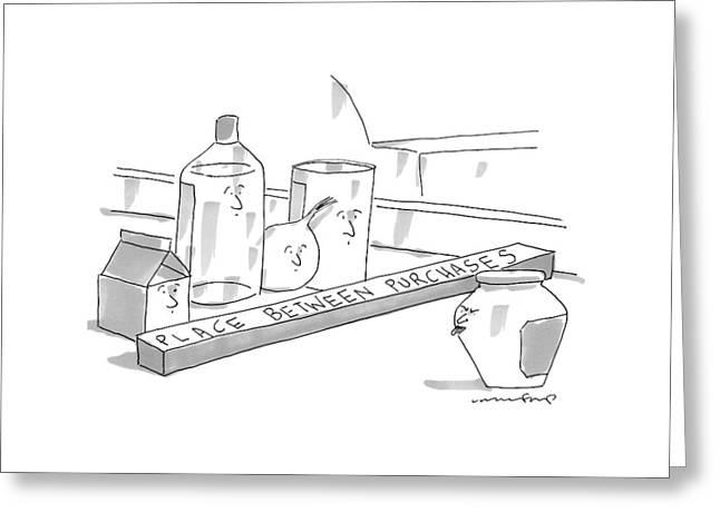 A Jar On A Supermarket Conveyor Belt Is Sticking Greeting Card