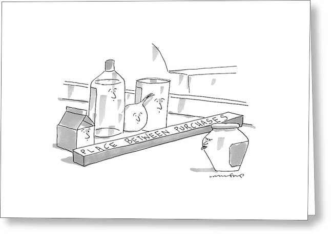 A Jar On A Supermarket Conveyor Belt Is Sticking Greeting Card by Michael Crawford