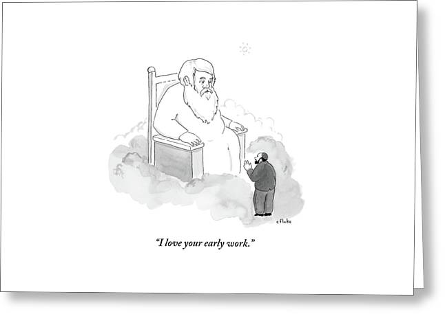 A Jew Talks To God On His Throne In Heaven Greeting Card by Emily Flake