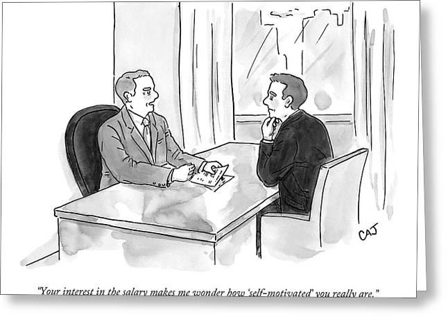 A Job Interviewer Scolds An Interviewee Greeting Card