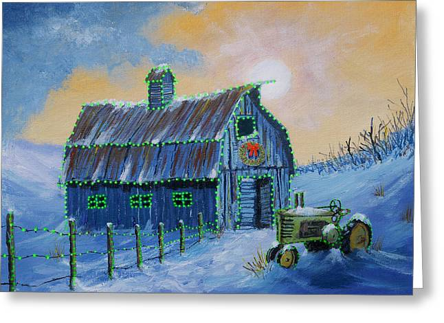 A John Deere Green Christmas Greeting Card by Jerry McElroy