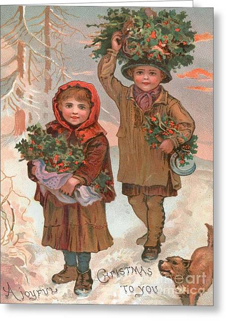 A Joyful Christmas To You   Victorian Christmas Card  Greeting Card by English School
