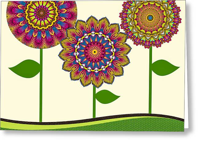 A Kaleidoscope Of Flowers Greeting Card by Amy Cicconi